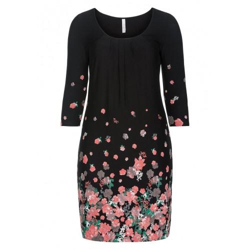 Sheego - Jerseykleid - schwarz-rosé | LapreZa Online Shop