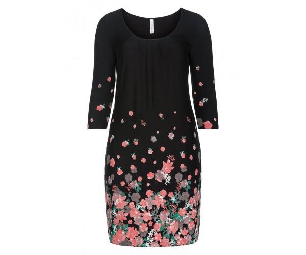 Jerseykleid - schwarz-rosé