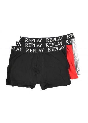 Boxershorts - schwarz / rot / grau - 3er Pack